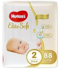 HUGGIES Elite Soft 2 (3-6 кг) 88 шт, Россия  {33810}